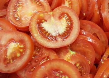 Tomaten Scheiben hand.
